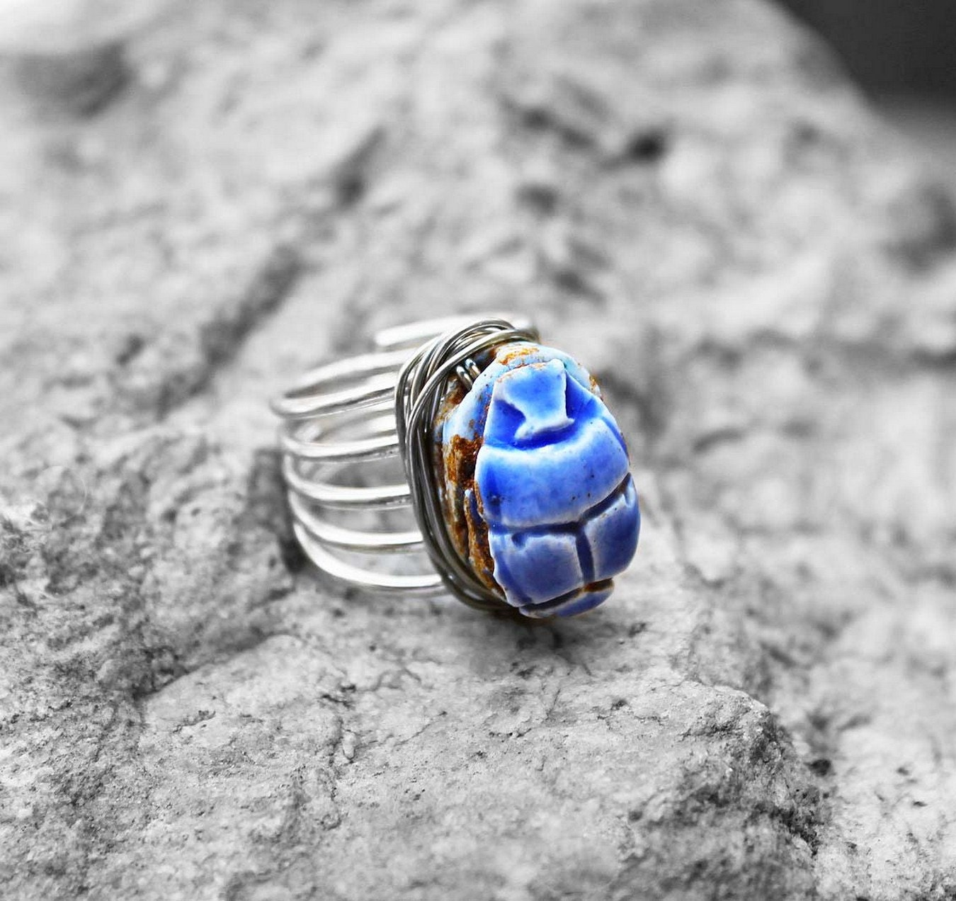 ring scarab ring silver blue by afriquelachic