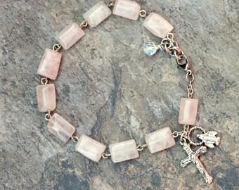 Gemstone Rosary Bracelet of Rose Quartz Puff Rectangle Beads, 1 Decade Bracelet/Chaplet
