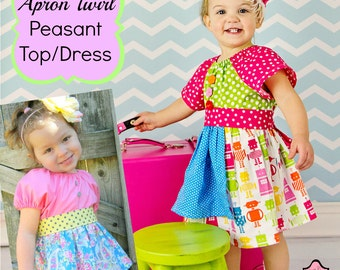 Apron Twirl Peasant Top/Dress Sewing Pattern PDF Tutorial ebook -- 0m through 12 girls Instant