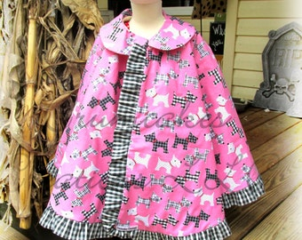 Vintage Cape Pattern for girls w.collar option and ruffle 18m-10 girls
