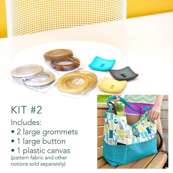 Kit #2 for the Sun & Surf Tote with Large Grommets, Button and Plastic Canvas (pattern sold separately)