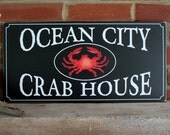 Ocean City Crab House Wood Sign Wall Decor Maryland Summer Traditions Home Decor Wall Art