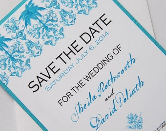 Turquoise Palm Tree Tropical Damask Destination Wedding Save the Date