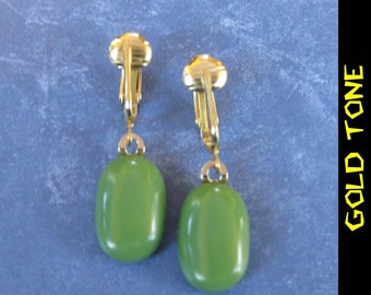 Clip On Earrings, Olive Green, Dangle Clipons, Non Pierced Earrings, Gold Tone Clip ons Findings -  Adina - 287 -4