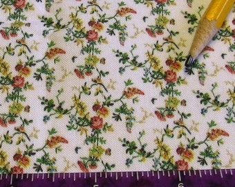 Dollhouse Miniature 18th 19th Century Victorian UPHOLSTERY FABRIC French Rococo Rose Wisteria 1/12th