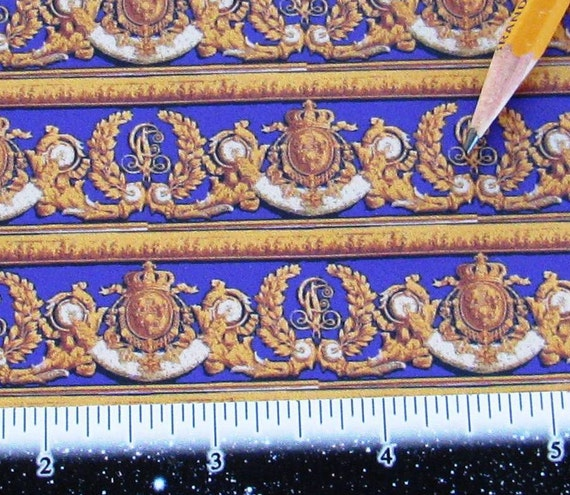Dollhouse Miniature Victorian WALLPAPER Violet Gold Border