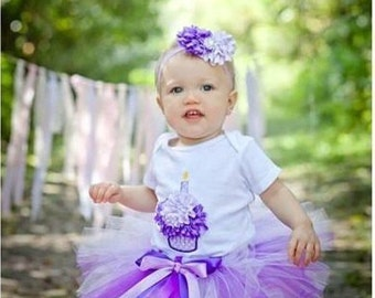 Baby Girl 1st Birthday Tutu Outfit - First Birthday Outfit Girl - Purple Tutu - Cake Smash Outfit - Cupcake Birthday Outfit