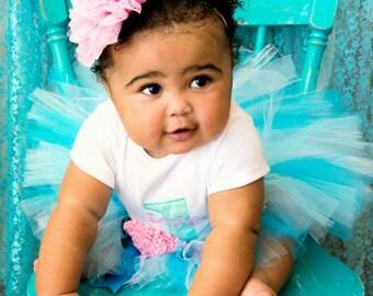 Baby Girl 1st Birthday Outfit - 1st Birthday Tutu Set - Pink and Aqua Birthday - Cake Smash