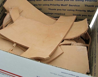 Scrap Tooling Leather, Priority Mail Box Stuffed with Leather Scraps, Vegetable Tanned Leather