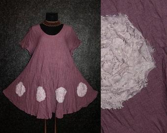 Loose Casual Short Purple Fairy Pixie Flower Tunic DRESS Plus Size 20 22 24 26 Floral Lagenlook 2X 3X