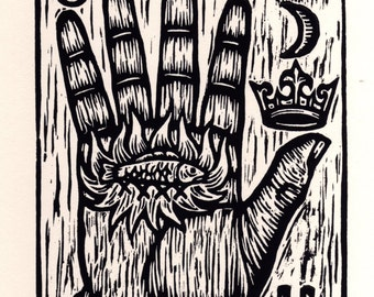 The Philosopher's Hand Woodcut Art Print, Hand carved Woodcut Art Print, Art, Hand of Philosophy Artwork, Woodcut Print