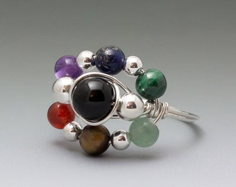 Chakra Version 1 (Original) Sterling Silver Wire Wrapped Bead Ring - Made to Order, Ships Fast!
