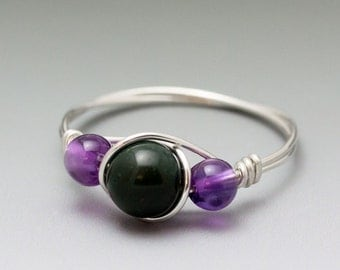 Bloodstone Heliotrope & Amethyst Silver Wire Wrapped Bead Ring - Made to Order, Ships Fast!