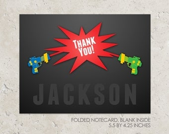 Laser Tag Folded Notecards - Thank you notes