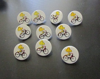 vintage woodstock on a bicycle buttons set of 10