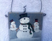 Snowman Primitive Painting, Snow People Mini Wood Block