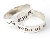 Nerdy Wedding Bands - My Sun & Stars - Moon of My Life - Pair of Sterling Silver His and Hers Wedding Bands