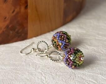 Ball Beadwoven earrings