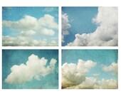 Cloud photography - set of four prints - aqua blue sky -  white clouds - nursery room decor - nature wall art - 5x7 11x14