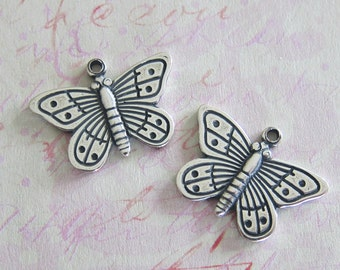 NEW 2 Silver Butterfly Charms 3478