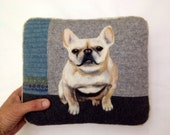 Taking Custom RUSH ORDERS -Personalized Needle Felted Pet Pillows -Recycled Wool Sweater Fabric Pillow, Cat or Dog pillow, Unique Gift