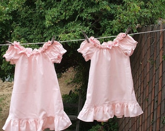 Prairie Nightgown Girls Cotton No Lace Any Color Custom made