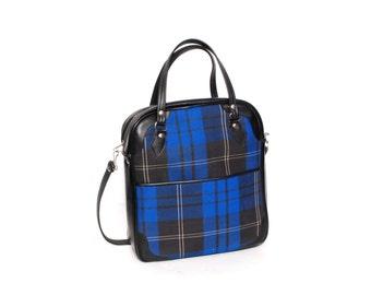 PLAID blue black vegan leather 70s 80s STEWARDESS TRAVEL tote purse bag