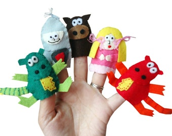 Knight , Dragons, Horse and Princess Finger Puppets  / Children's Story Felt puppet / Christmas Stocking Filler / Kids / Baby Toys - 5