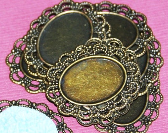 10 pcs of antique brass Cabochon setting 23x28mm