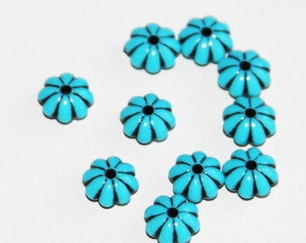 100 pcs of Vintage Acrylic flower rondelle beads 7.2 Blue with Black accent