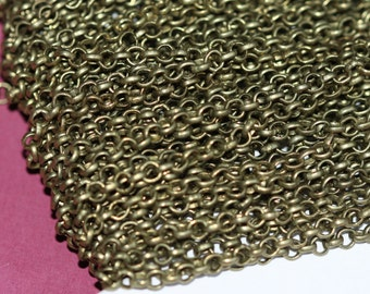 32ft  Antique Brass Rollo chain 3.1 mm Solder links brass coated
