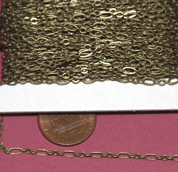 100 ft spool of Antiqued Brass ( 3 and 1 ) Long and Short Chain 4.5X2.5mm  Soldered Links
