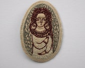 dreamer brooch in ivory, dark red and grey - embroidery portrait - wearable art