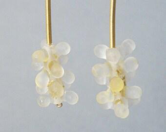 Dangle cluster earrings, White cluster earrings, cluster glass earrings, Lamp work glass earrings, White glass earrings