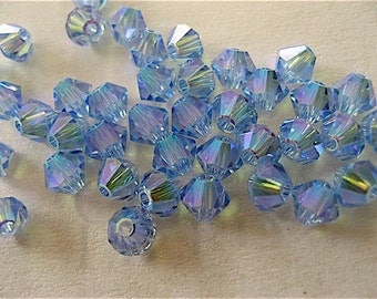 24 Light Sapphire AB2X Swarovski Crystal Beads Bicone 5328 4mm