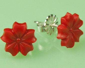 Vintage Red Button Post Earrings