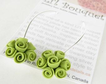 Flower Teardrop Earrings - Bridesmaids - Prom - Bridal - Lime Green Roses - Li'l Bouquet Polymer Clay Jewelry