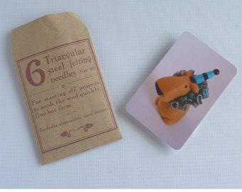 Triangular felting needles, size 40, six pack with storage card