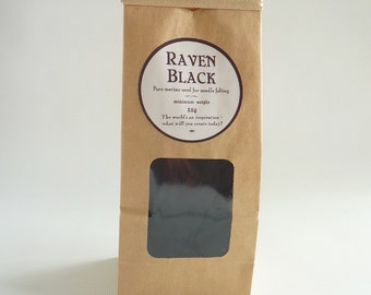 Black needle felting wool 'Raven Black' 25g,  1oz, 21 micron merino roving, black tops, black roving, needle felt wool,  wet felting,