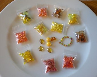 Orange Yellow Bead Mix - Destash Beads - Various Sizes - Grab Bag - Cheap Bead Lot - Jewelry Making & Stringing - Hobby - Glass Plastic