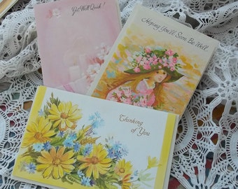 3 Unused Vintage 1960s Get Well Cards for Grandma Grandpa Son Daughter Instant Collection Ephemera Destash Great Scrapbook Supplies