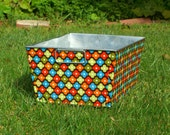 Galvanized Tub Rectangular Storage Bin Chocolate Brown Tangerine Orange Olive Green Mosaic Flowers