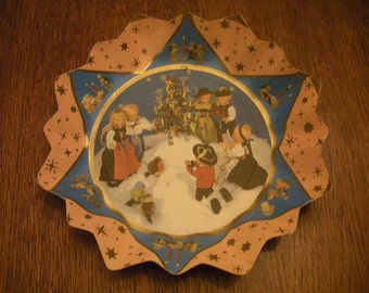 Vintage Paper Christmas Tray Germany