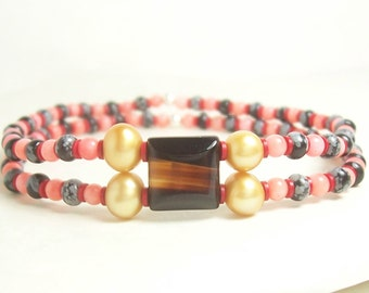 The Jeweled Path Elastic Bracelet, Gold, Black, Grey, Brown, Coral and Red - Sterling Silver