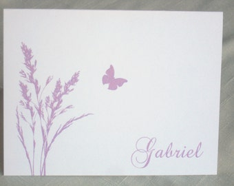 Personalized Botanical Note Cards - Set of 25 -  Butterfly - Choose Color