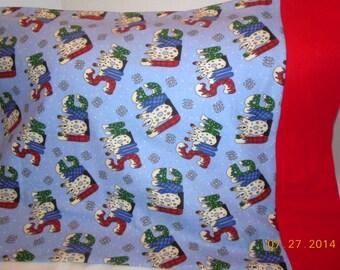 Snowmen  Christmas Flannel Pillowcase