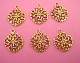 6 brass ox filigree art nouveau victorian open cut charms  14mm