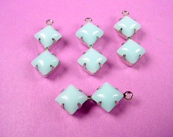 4 Vintage light blue Calcedon  double Square  6mm  set Glass charms 6x6 silver prong set