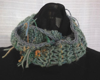 Muted Green Hanspun and Handyed Wool Mobius Wrap Scarf