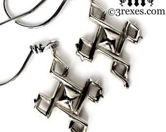 Silver Cross Earrings Tiny Celtic Charms Gothic Jewelry